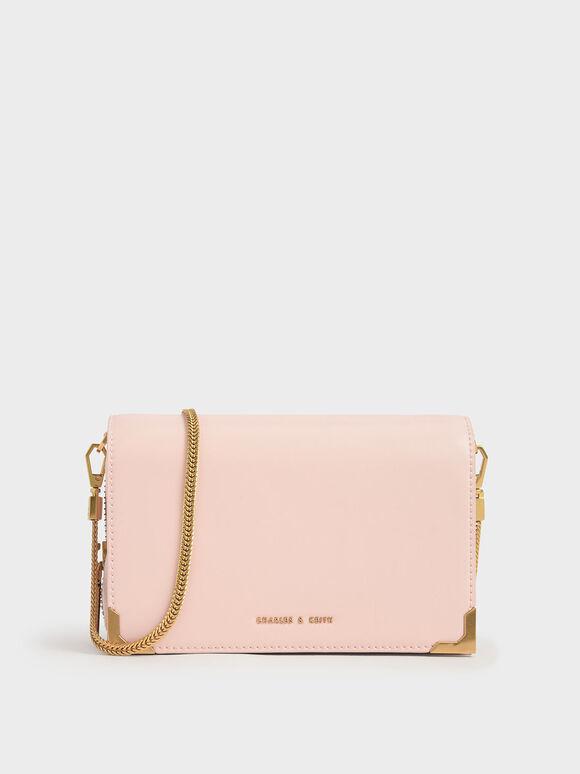 Metallic Edge Crossbody Bag, Light Pink, hi-res