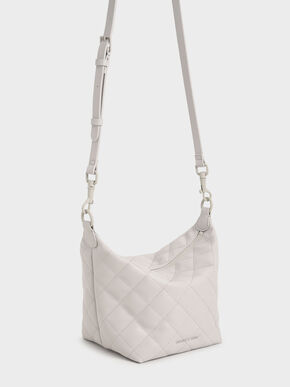 Quilted Hobo Bag, Light Grey, hi-res