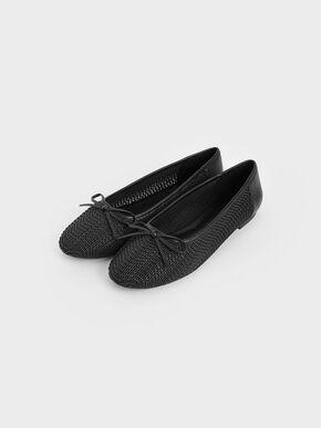 Woven Bow Ballerinas, Black, hi-res