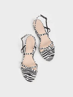 Zebra Print Strappy Flat Sandals, Animal Print Natural, hi-res