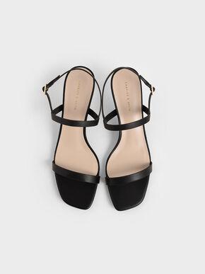 Metallic Ankle Strap Sandals, Black, hi-res