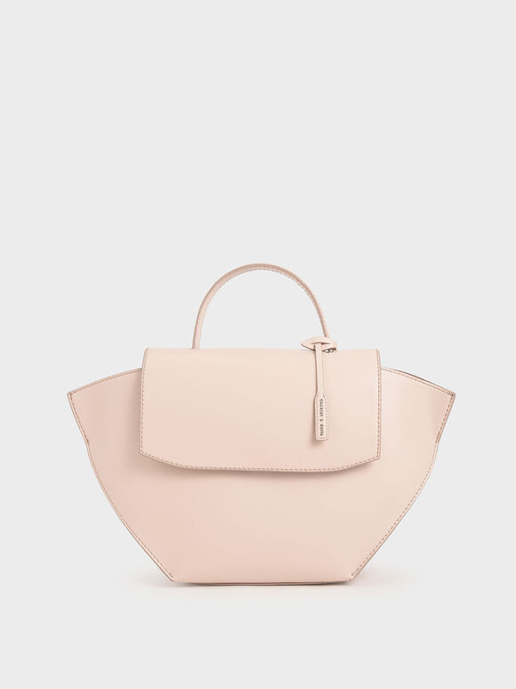 Geometric Top Handle Bag, Light Pink, hi-res