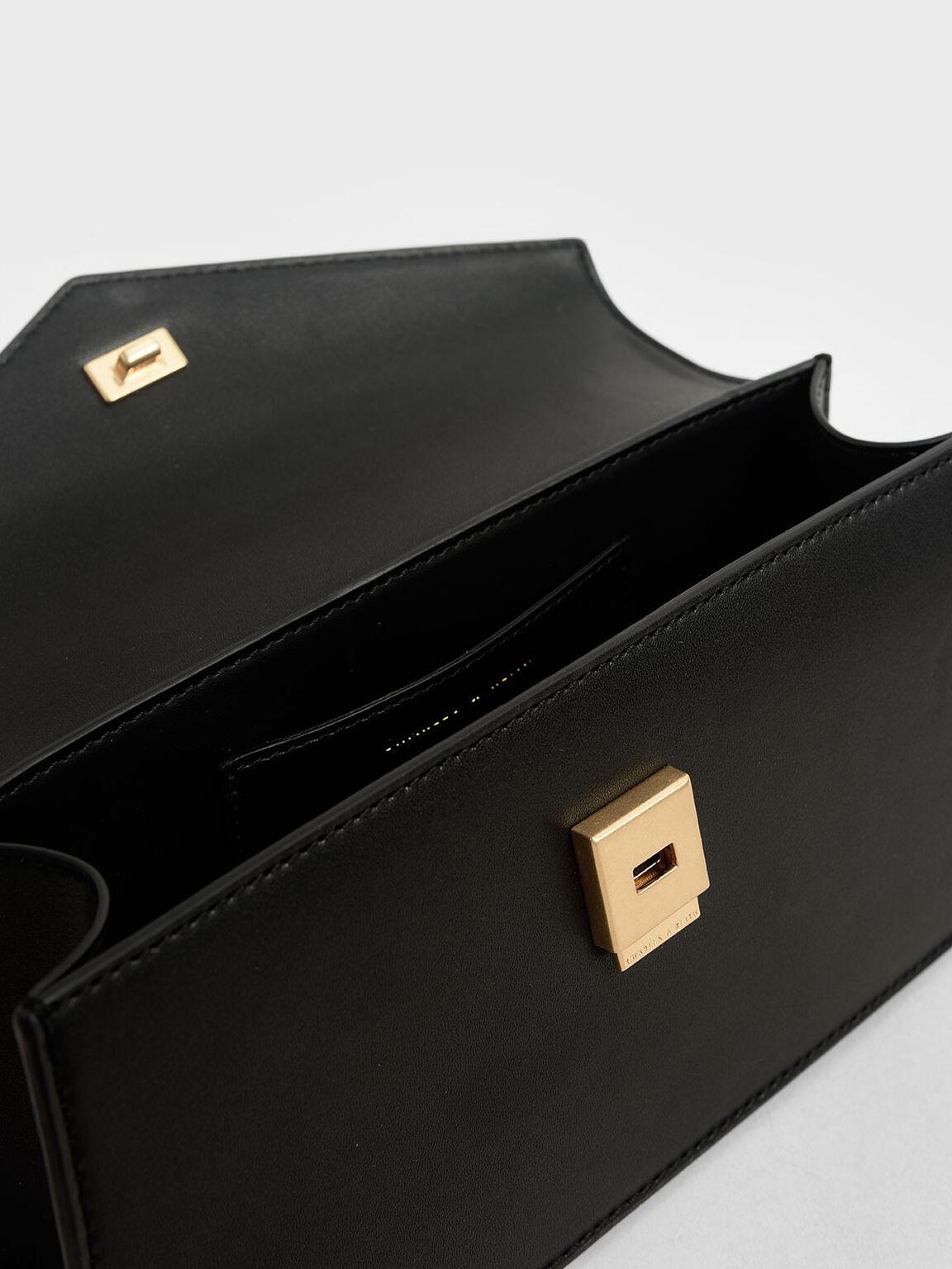 Envelope Chain Handle Bag, Black, hi-res