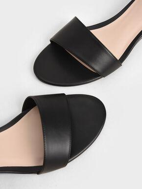 Asymmetric Wedge Sandals, Black, hi-res