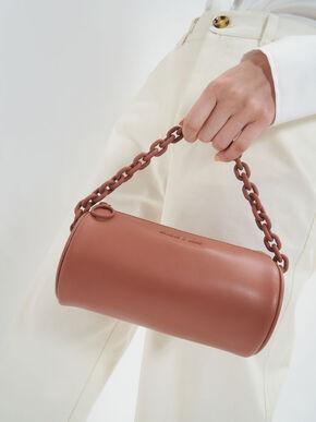 Chain Handle Crossbody Bag, Brick, hi-res