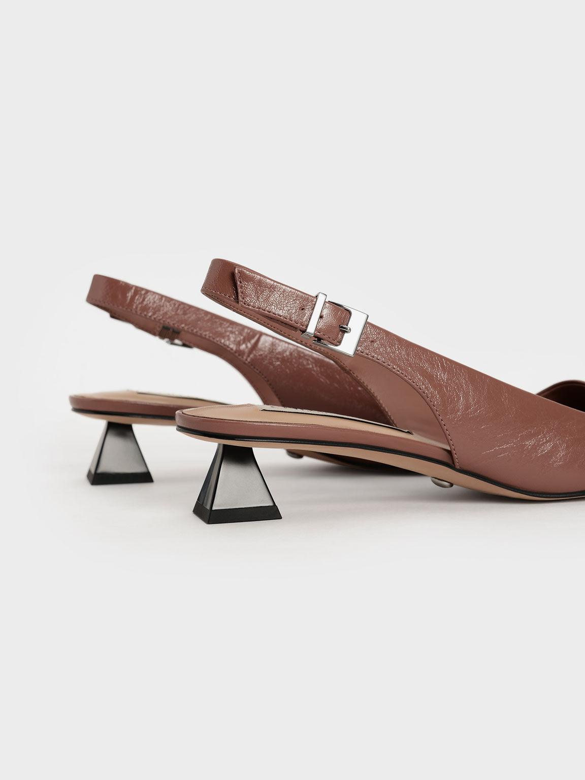 Gem-Embellished Leather Slingback Pumps, Tan, hi-res