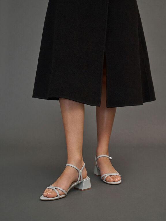 Strappy Block Heel Sandals, Grey, hi-res