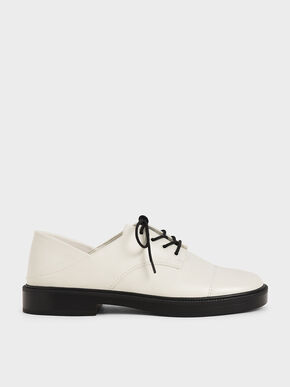Chunky Sole Oxford Shoes, Chalk, hi-res