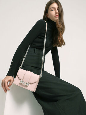 Metallic Buckle Crossbody Bag, Light Pink, hi-res