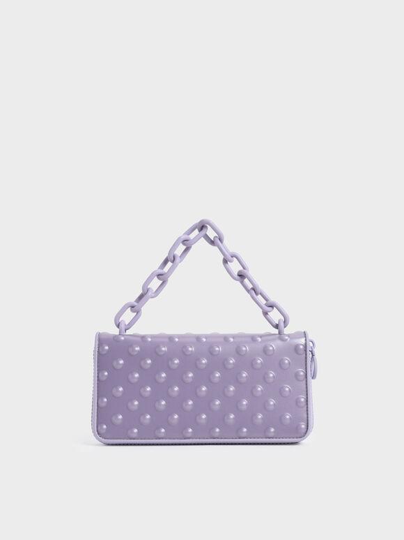 Chain Link Long Wallet, Lilac, hi-res