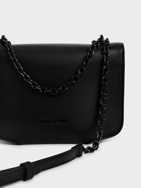 Satin Scarf Double Strap Shoulder Bag, Ultra-Matte Black, hi-res