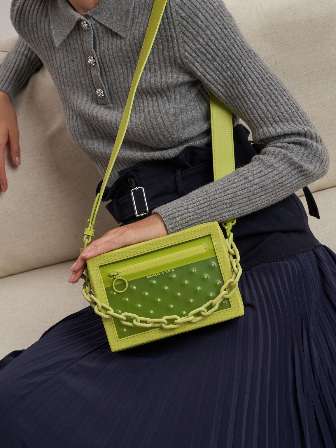 Chain Link Crossbody Bag, Lime, hi-res