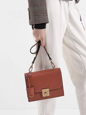 Boxy Push Lock Crossbody Bag, Cognac, hi-res