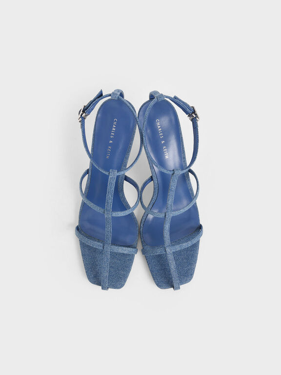 Denim Caged Strappy Heeled Sandals, Blue, hi-res