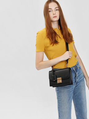 Structured Crossbody Bag, Black, hi-res