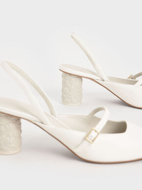 Embossed Heel Slingback Pumps, White, hi-res