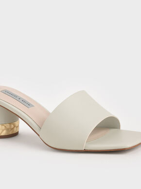 Metallic Accent Mules, White, hi-res