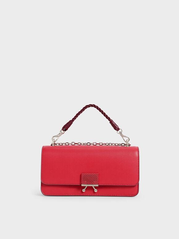 Twist Top Handle Long Wallet, Red, hi-res