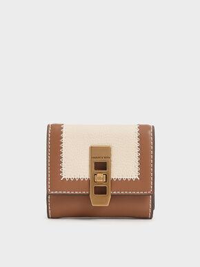 Stitch Trim Turn Lock Wallet, Ivory, hi-res