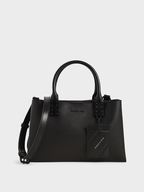 Double Top Handle Structured Bag, Ultra-Matte Black, hi-res