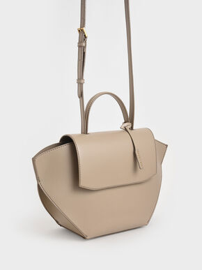 Geometric Top Handle Bag, Taupe, hi-res
