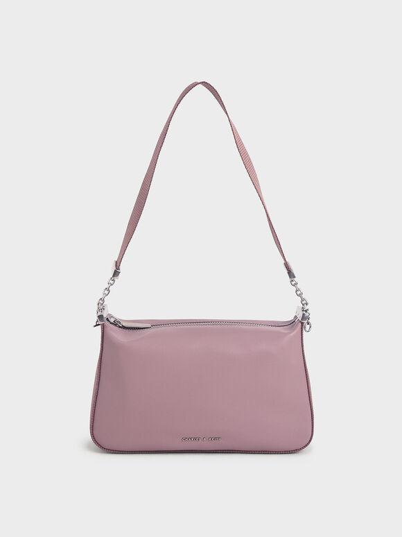 Zip Shoulder Bag, Purple, hi-res