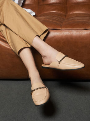 Metallic Accent Mule Flats, Nude, hi-res