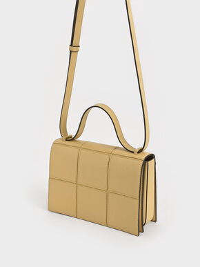 Textured Panelled Shoulder Bag, Yellow, hi-res