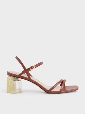 Strappy Sculptural Heel Sandals, Brick, hi-res