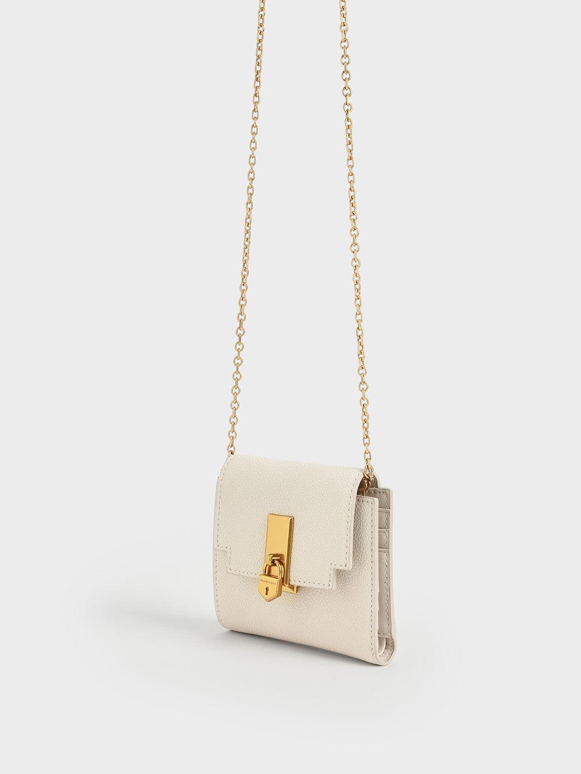Metallic Push-Lock Short Wallet, Cream, hi-res