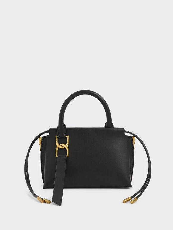 Fringe Detail Crossbody Bag, Black, hi-res