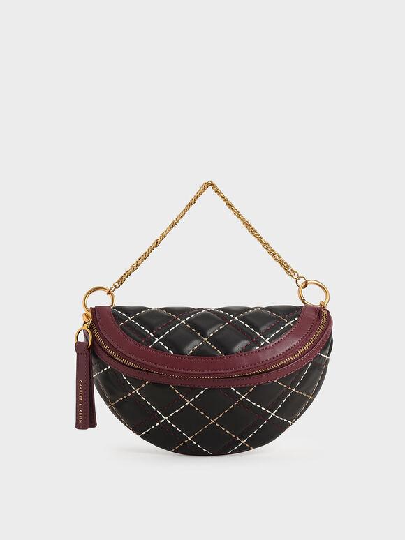 Half-Moon Crossbody Bag, Black, hi-res