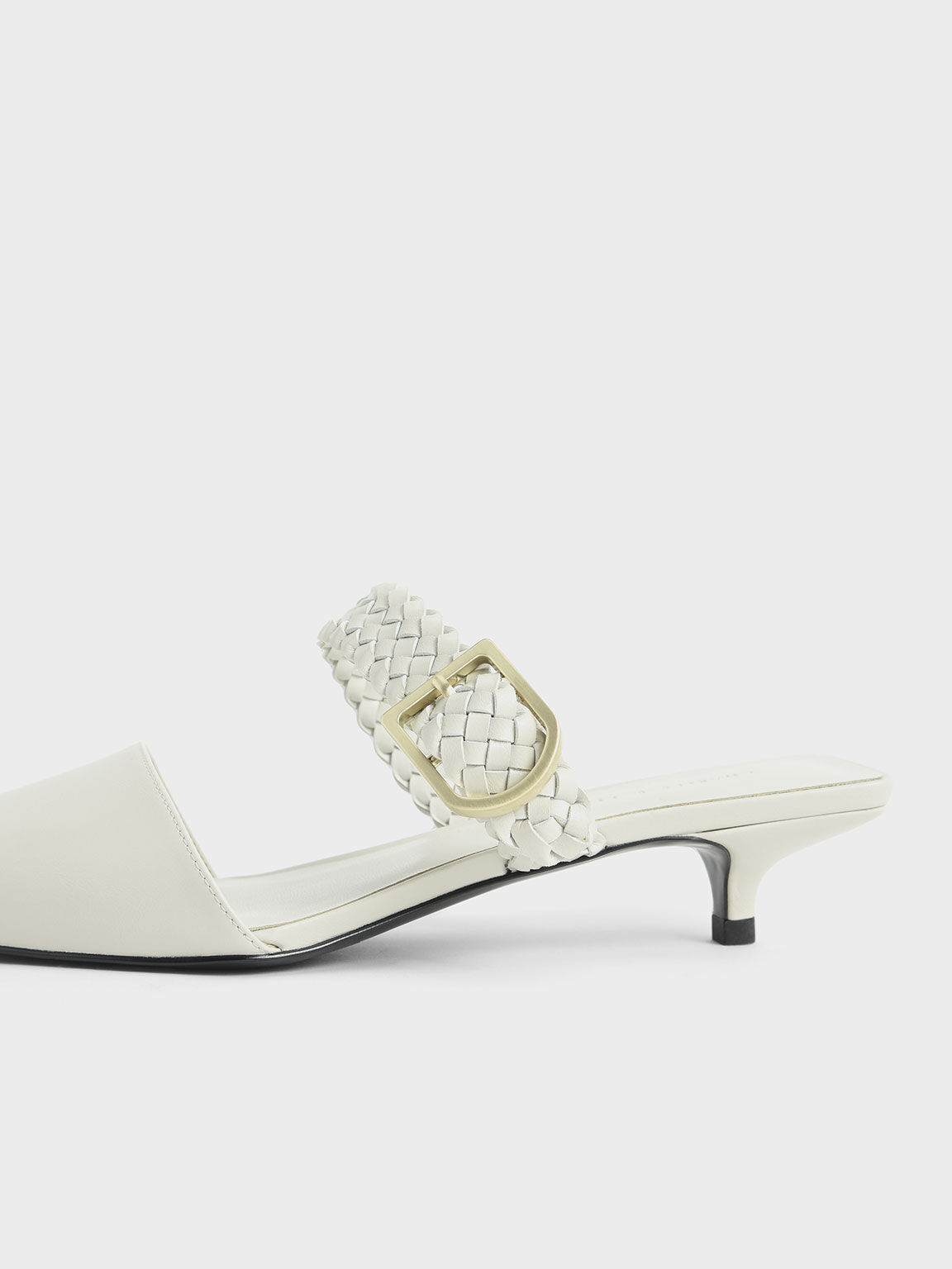 Woven Buckle Strap Mules, Chalk, hi-res
