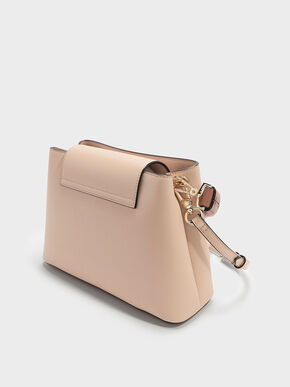 Scarf Wrapped Top Handle Bag, Beige, hi-res