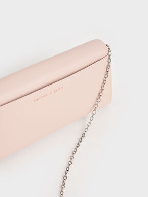 Stone-Embellished Long Wallet, Light Pink, hi-res