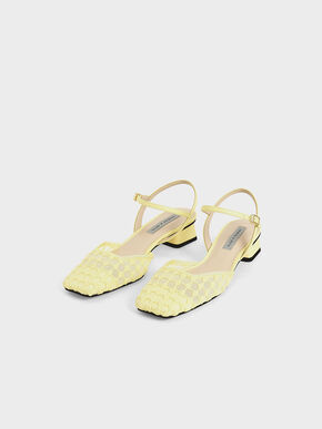 Lace Square Toe Pumps, Yellow, hi-res
