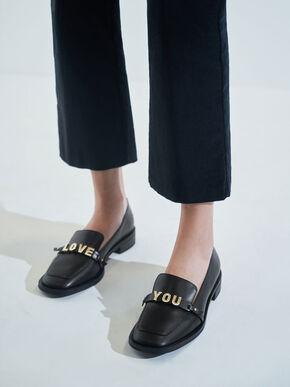 Love You' Loafer Flats, Black, hi-res