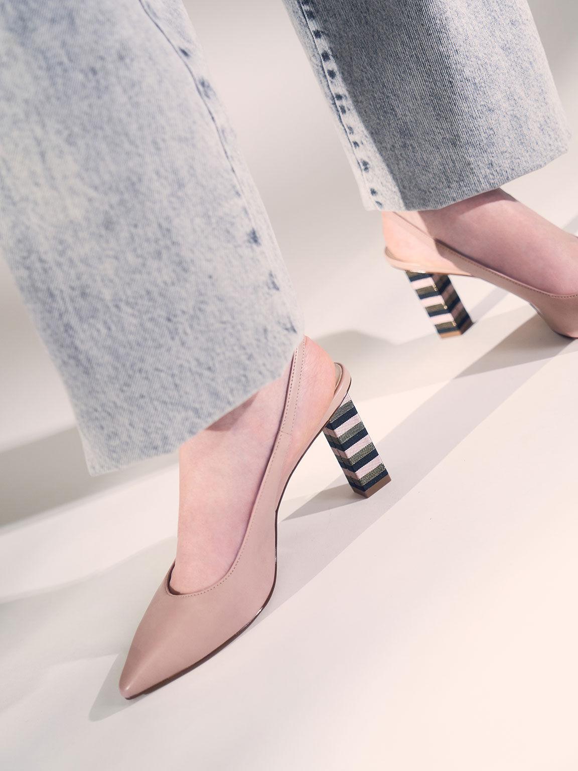 Slingback Block Heel Pumps, Pink, hi-res