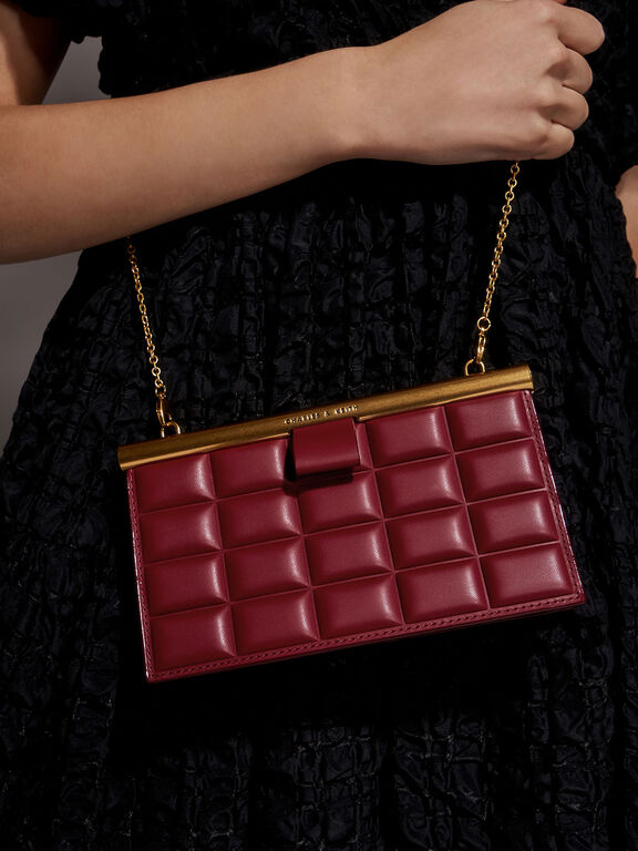 Quilted Clasp Clutch, Red, hi-res