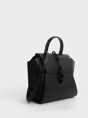 Chain-Link Trapeze Bag, Black, hi-res