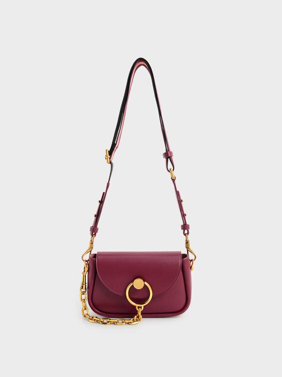 Chunky Chain-Link Crossbody Bag, Burgundy, hi-res