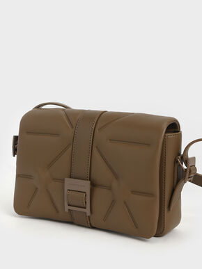 Quilted Shoulder Bag, Khaki, hi-res