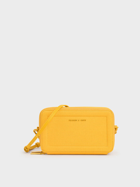 Grosgrain Stitch Trim Crossbody Bag, Yellow, hi-res