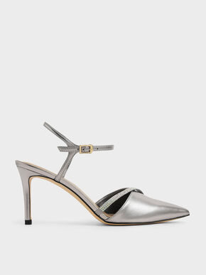 Metallic & Satin Embellished Pumps, Silver, hi-res