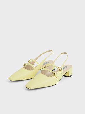 Slingback Mary Janes, Yellow, hi-res