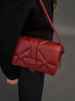 Quilted Shoulder Bag, Red, hi-res