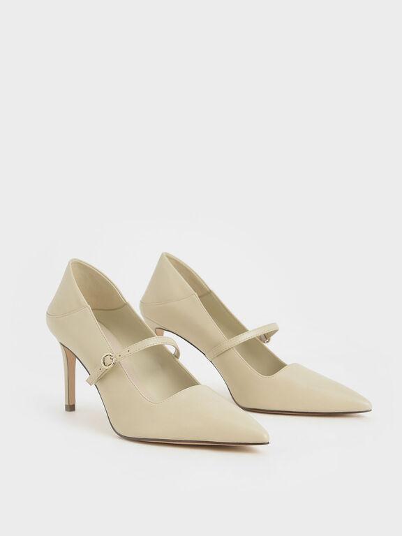 Mary Jane Stiletto Pumps, Beige, hi-res