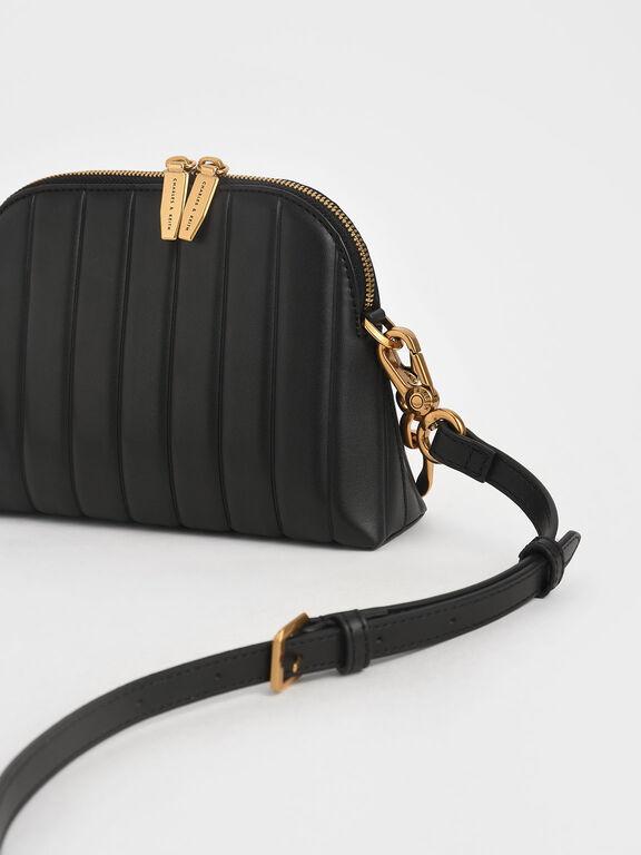 Chain Handle Panelled Crossbody Bag, Black, hi-res