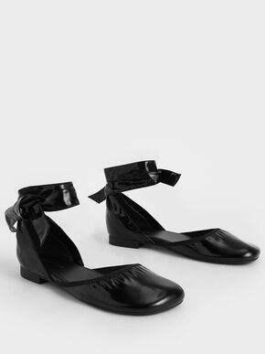 Patent Tie-Around D'Orsay Flats, Black, hi-res