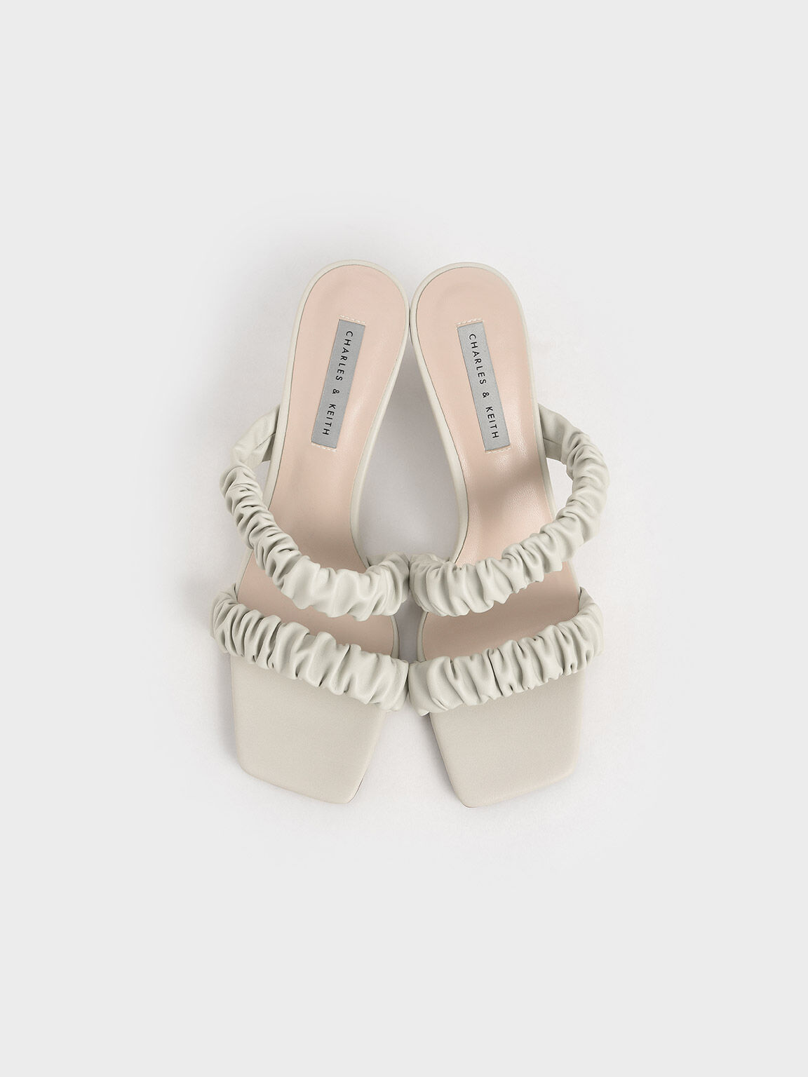 Ruched Strap Mules, White, hi-res